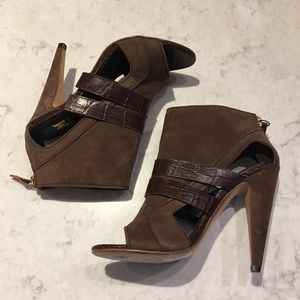 MISSONI Crocodile Peep-Toe Ankle Booties